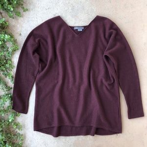 Vince Maroon Cashmere Lightweight Pullover Sweater